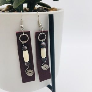 Leather beaded earrings
